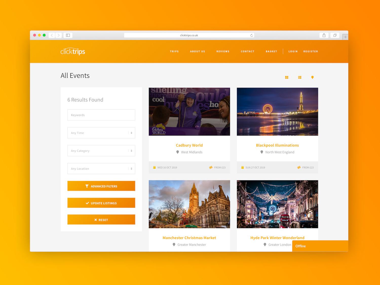ClickTrips Website Design